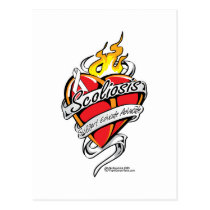 Scoliosis Tattoo Heart Postcard