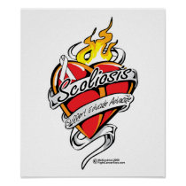 Scoliosis Tattoo Heart Poster