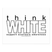 Scoliosis Think White Postcard