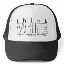 Scoliosis Think White Trucker Hat