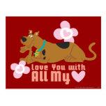 """Scooby Doo """"amor usted con todo mi corazón """" Postal"""