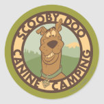 """Scooby Doo """"Canine Camping"""" Classic Round Sticker"""