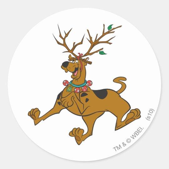 Scooby Doo Christmas.Scooby Doo Christmas Holiday Antlers Classic Round Sticker