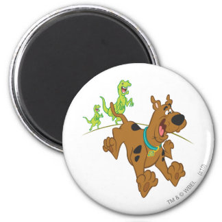 Scooby Doo Dinosaur Chasing2 2 Inch Round Magnet
