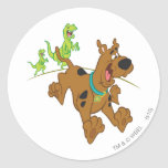 Scooby Doo Dinosaur Chasing2 Classic Round Sticker