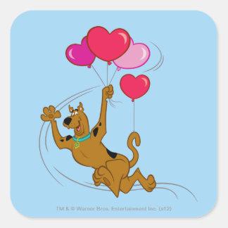 Scooby Doo - globos del corazón Pegatina Cuadrada