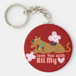 "Scooby Doo ""Love You With All My Heart"" Basic Round Button Keychain"