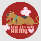 """Scooby Doo """"Love You With All My Heart"""" Classic Round Sticker"""