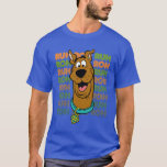 """Scooby-Doo Ruh Roh T-Shirt<br><div class=""""desc"""">Check out Scooby-Doo in front of his classic &quot;Ruh Roh&quot; quote as a patterened typographical background.</div>"""