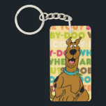"Scooby-Doo Running &quot;Where Are You?&quot; Keychain<br><div class=""desc"">Check out Scooby running on top of a typographical background that reads: &quot;Scooby-Doo Where Are You?&quot;</div>"