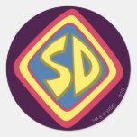 """Scooby Doo """"SD """" 1 Etiquetas Redondas"""