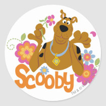 Scooby in Flowers Classic Round Sticker