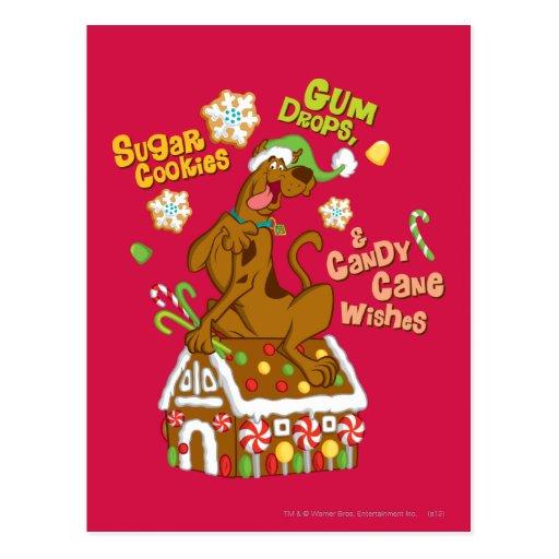 Scooby y casa de pan de jengibre postal