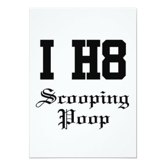 "scooping poop 5"" x 7"" invitation card"