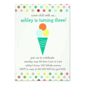 Scoops and polka dots birthday party invitation
