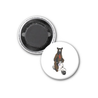 Scooter Bear 1 Inch Round Magnet