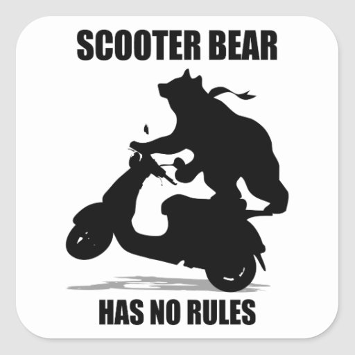 Scooter Bear Square Sticker