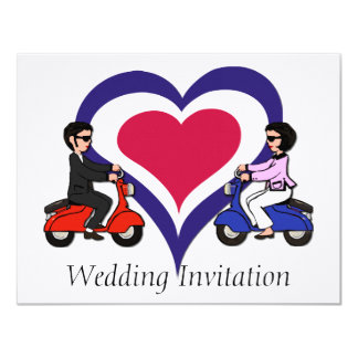 Scooter Boy and Girl mod heart 4.25X5.5 Linen 4.25x5.5 Paper Invitation Card
