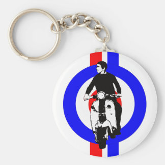 Scooter Boy on  target and stripes Keychain