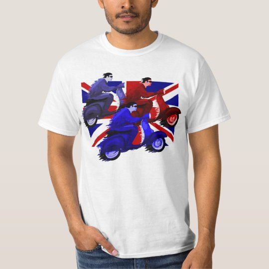 Scooter boy racers on union jack Men's T-shirts