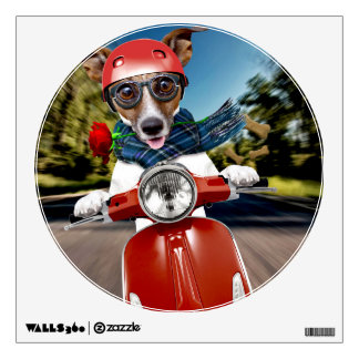 Scooter dog ,jack russell wall decal