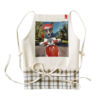 Scooter dog ,jack russell zazzle HEART apron