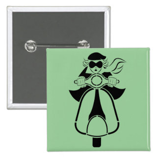 Scooter Girl 2 Inch Square Button