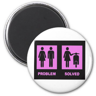 scooter girl no problem pink 2 inch round magnet