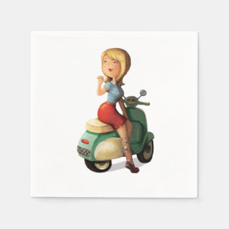 Scooter Girl Paper Napkin