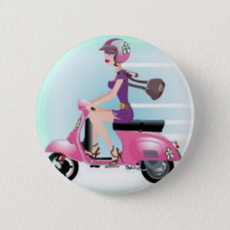 Scooter Girl Pinback Button