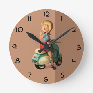 Scooter Girl Round Clock