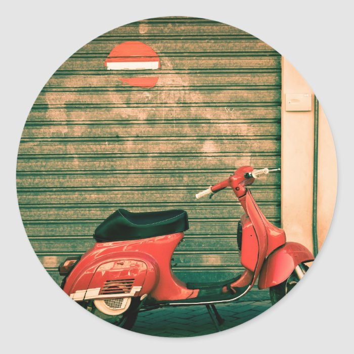 Scooter in Italy Classic Round Sticker