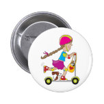 Scooter Kid Pinback Button