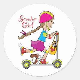 Scooter Kid Round Sticker