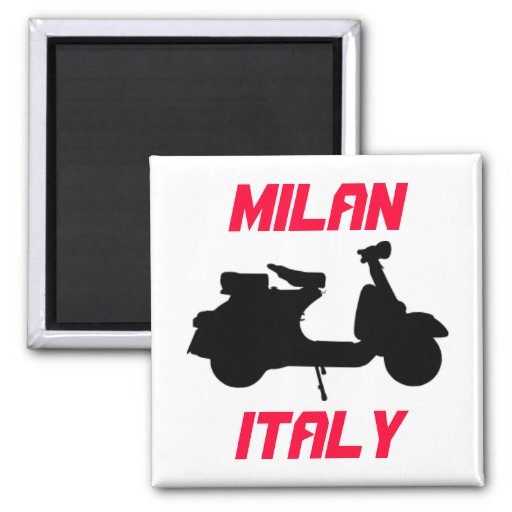 Scooter, Milan, Italy 2 Inch Square Magnet