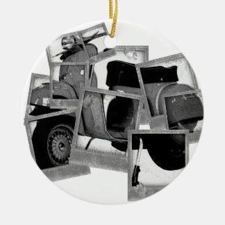 Scooter Montage Double-Sided Ceramic Round Christmas Ornament