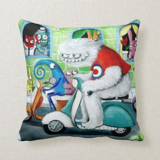 Scooter Rally - Yeti and Monsters Throw Pillows