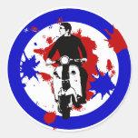 Scooter Rider on Paint splash mod target art Round Sticker