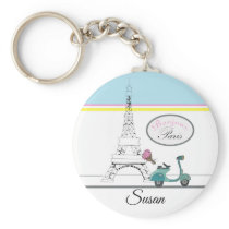 Scooter riding past the Eiffel Tower Paris France Keychain