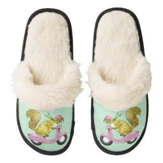 Scooter Squirrel Fuzzy Slippers Pair Of Fuzzy Slippers
