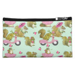 Scooter Squirrels (mint) Makeup Bags