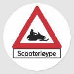 Scooter Track (1), Traffic Sign, Norway Round Stickers