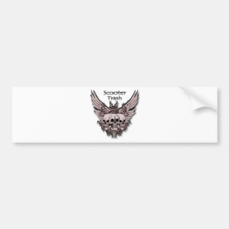 Scooter Trash flying skulls Bumper Sticker