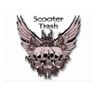 Scooter Trash flying skulls Postcard