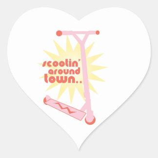Scootin' Around Town Heart Sticker