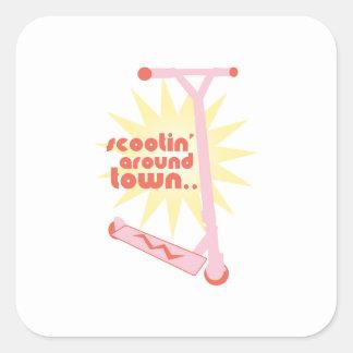 Scootin' Around Town Stickers
