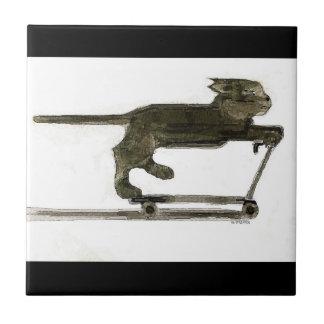Scooting Cat Tile- Original Art by S.Q. Streater Tile