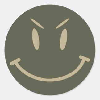 Scope Cap Sticker, Evil Smiley Face, Style 2 Classic Round Sticker