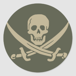Scope Cap Sticker, Jolly Roger - Style 8 Classic Round Sticker