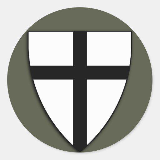 Scope Cap Sticker, Teutonic Knights Shield Classic Round Sticker